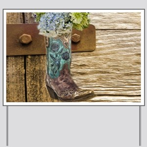 flower western country cowboy boots Yard Sign