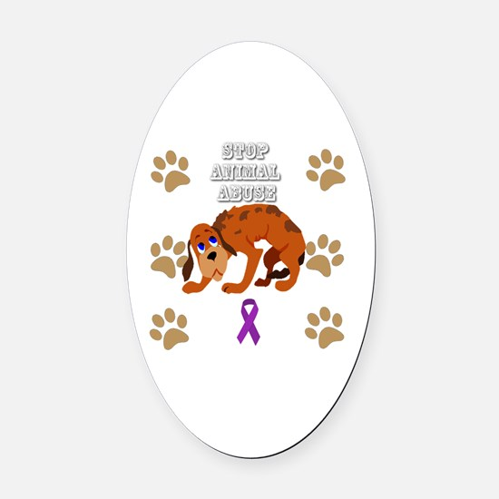 Cute Stop animal abuse Oval Car Magnet