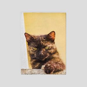 Brown Cat 1 5'x7'Area Rug