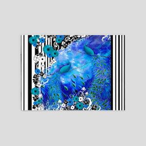 Floral Stripe Print Blue Garden Pea 5'x7'Area Rug