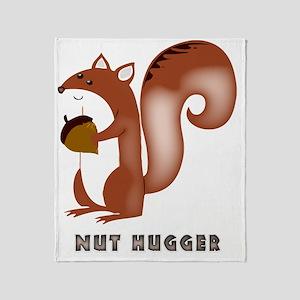 squirrel, wildlife, nut, nut hugger, Throw Blanket