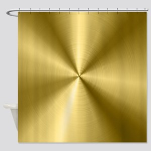 Metallic Faux Gold Stainless Steel Shower Curtain