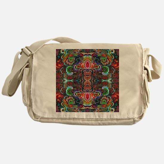 Colorful Abstract Fractal Floral Col Messenger Bag