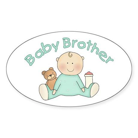 Baby Brother & Teddy Oval Sticker