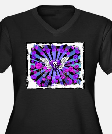 Tattoo Skull Purple Roses Angel Plus Size T-Shirt