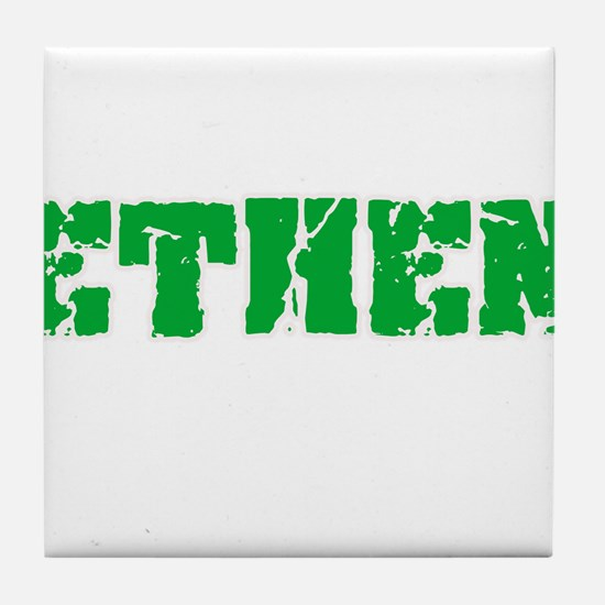 Ethen Name Weathered Green Design Tile Coaster