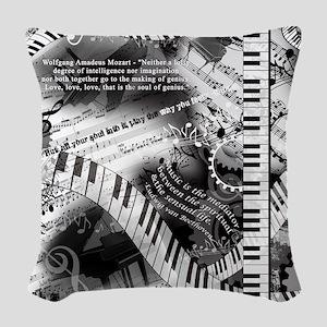 Classical Piano Mozart Music Q Woven Throw Pillow