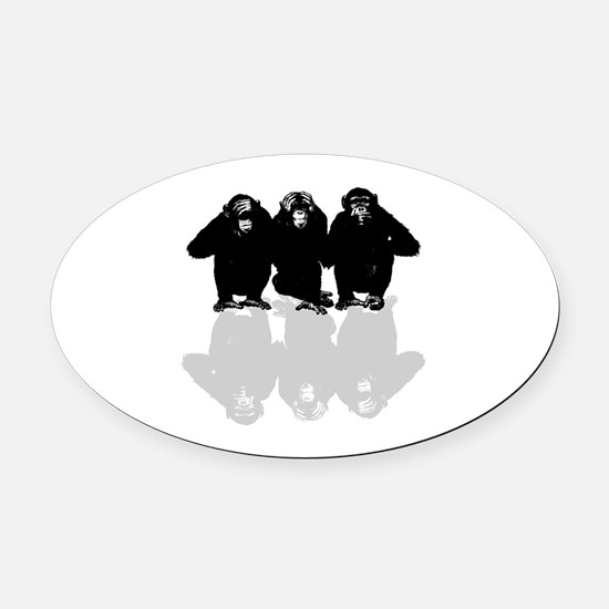 Cute Chimp no evil Oval Car Magnet