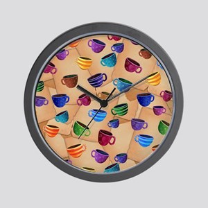 Colorful Coffee Mug Design Whimsical Co Wall Clock
