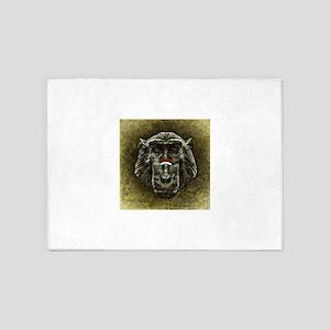 Gold Gradient Monkey Head 5'x7'Area Rug