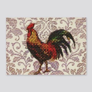 french country vintage rooster 5'x7'Area Rug