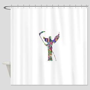 Prismatic Rainbow Angel of Death Shower Curtain