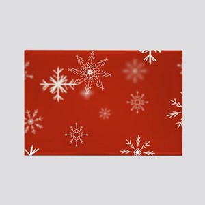 Christmas Snowflakes: Red Backgro Rectangle Magnet