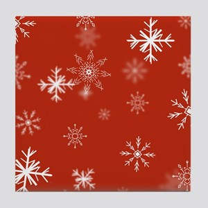 Christmas Snowflakes: Red Background Tile Coaster