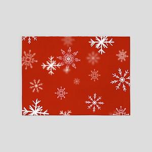 Christmas Snowflakes: Red Backgroun 5'x7'Area Rug