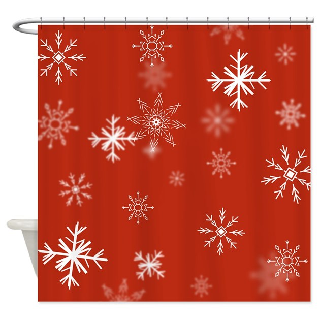 Christmas snowflakes red backgroun shower curtain by