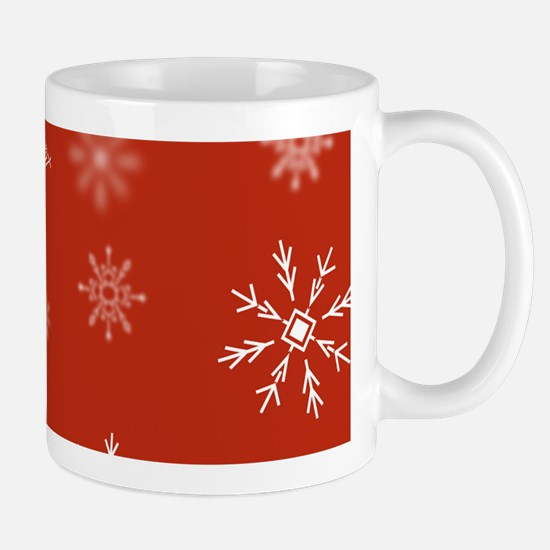 Christmas Snowflakes: Red Background Mug