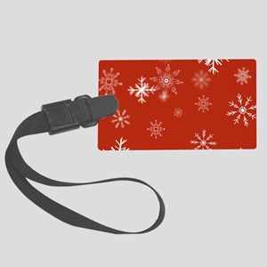 Christmas Snowflakes: Red Backgr Large Luggage Tag