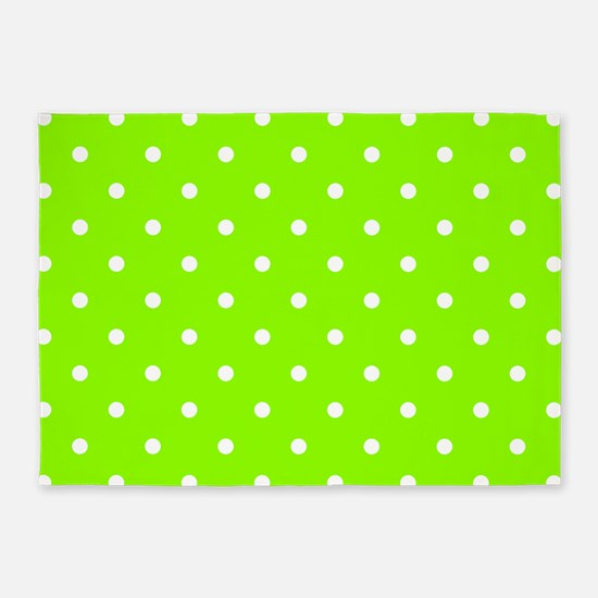 Green, Lime: Polka Dots Pattern (Sm 5'x7'Area Rug