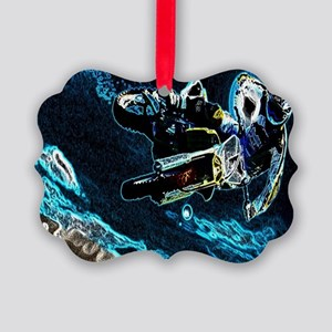 grunge cool motorcycle racer Picture Ornament