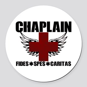 Winged Cross Chaplain Round Car Magnet