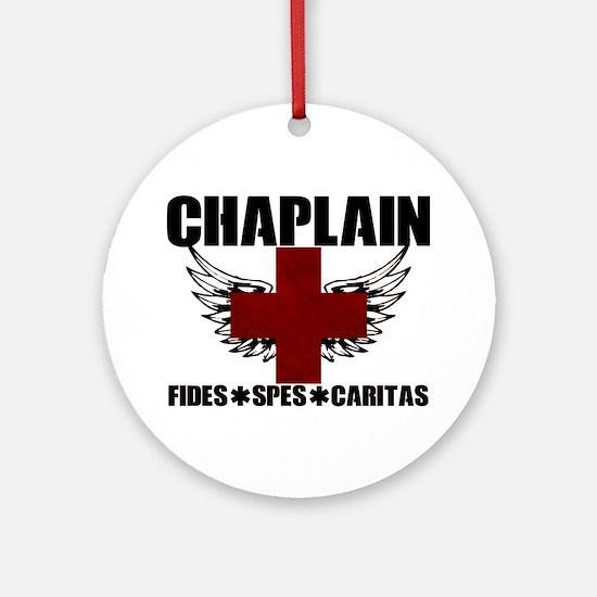 Winged Cross Chaplain Round Ornament