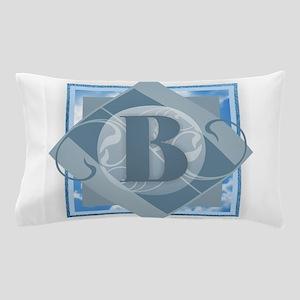 B Monogram - Letter B - Blue Pillow Case