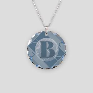 B Monogram - Letter B - Blue Necklace Circle Charm