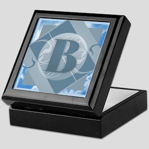 B Monogram - Letter B - Blue Keepsake Box