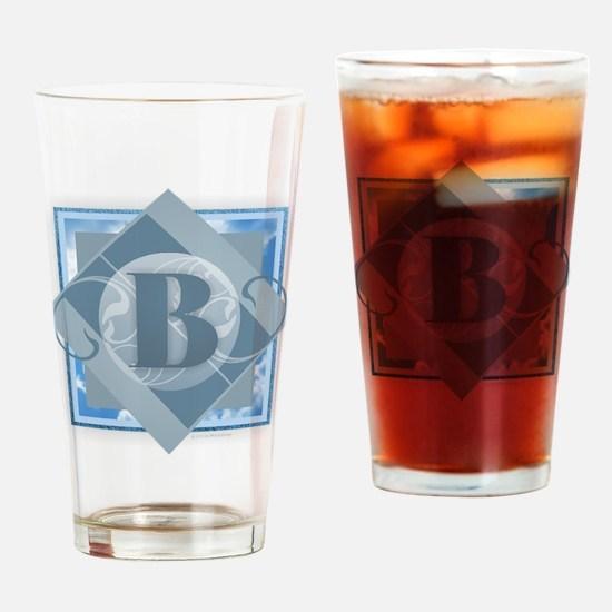 B Monogram - Letter B - Blue Drinking Glass