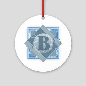B Monogram - Letter B - Blue Round Ornament
