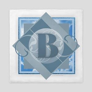 B Monogram - Letter B - Blue Queen Duvet