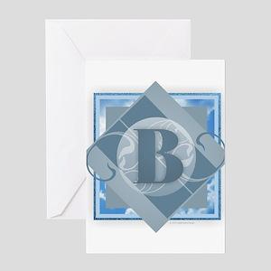 B Monogram - Letter B - Blue Greeting Cards