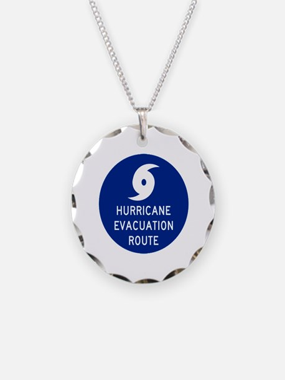 Hurricane Evac Route Necklace Circle Charm