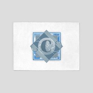 C Monogram - Letter C - Blue 5'x7'Area Rug
