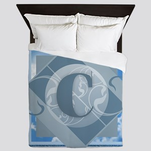 C Monogram - Letter C - Blue Queen Duvet