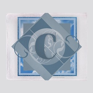 C Monogram - Letter C - Blue Throw Blanket