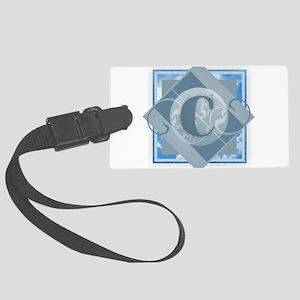 C Monogram - Letter C - Blue Large Luggage Tag