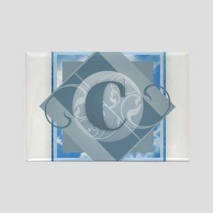 C Monogram - Letter C - Blue Magnets