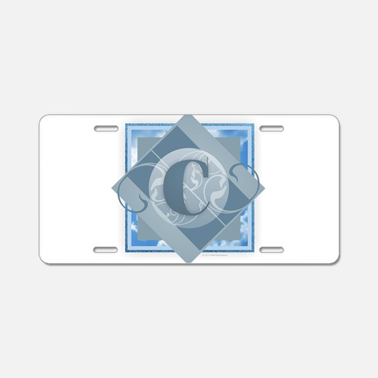 C Monogram - Letter C - Blu Aluminum License Plate