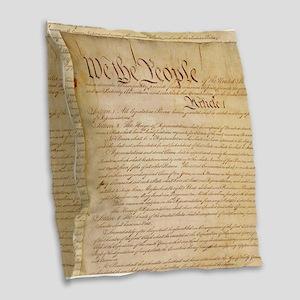 US CONSTITUTION Burlap Throw Pillow