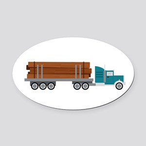 Semi Log Truck Oval Car Magnet