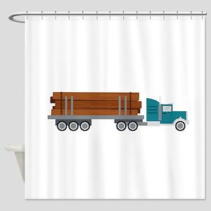 Semi Log Truck Shower Curtain