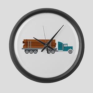 Semi Log Truck Large Wall Clock