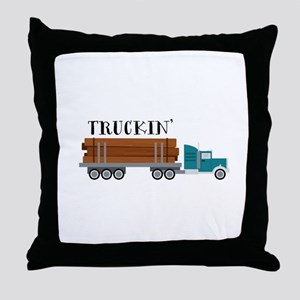 Truckin Throw Pillow