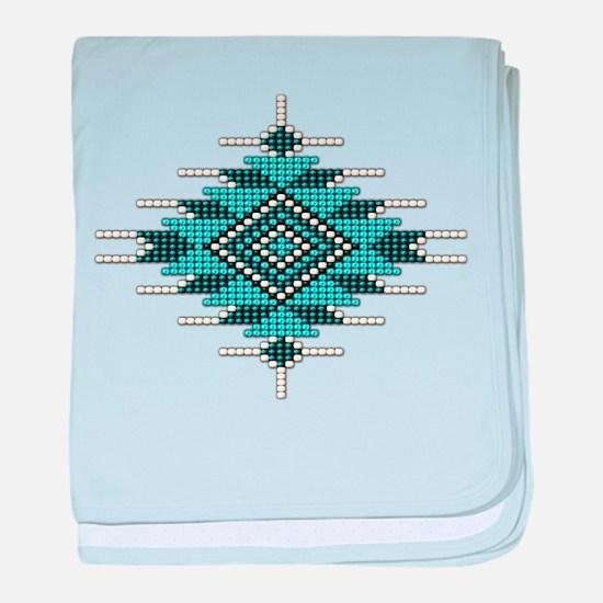 Native Turquoise Seed Bead baby blanket