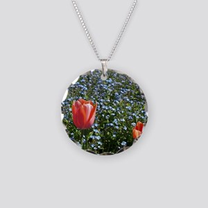 Red Tulips in Blue Necklace Circle Charm