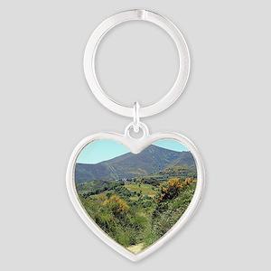 Mountains on El Camino near O'Cebre Heart Keychain