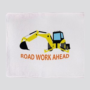 Road Work Ahead Throw Blanket