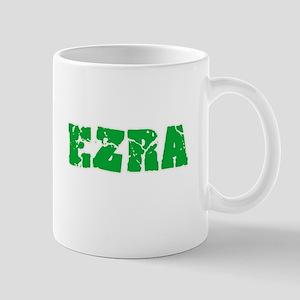 Ezra Name Weathered Green Design Mugs